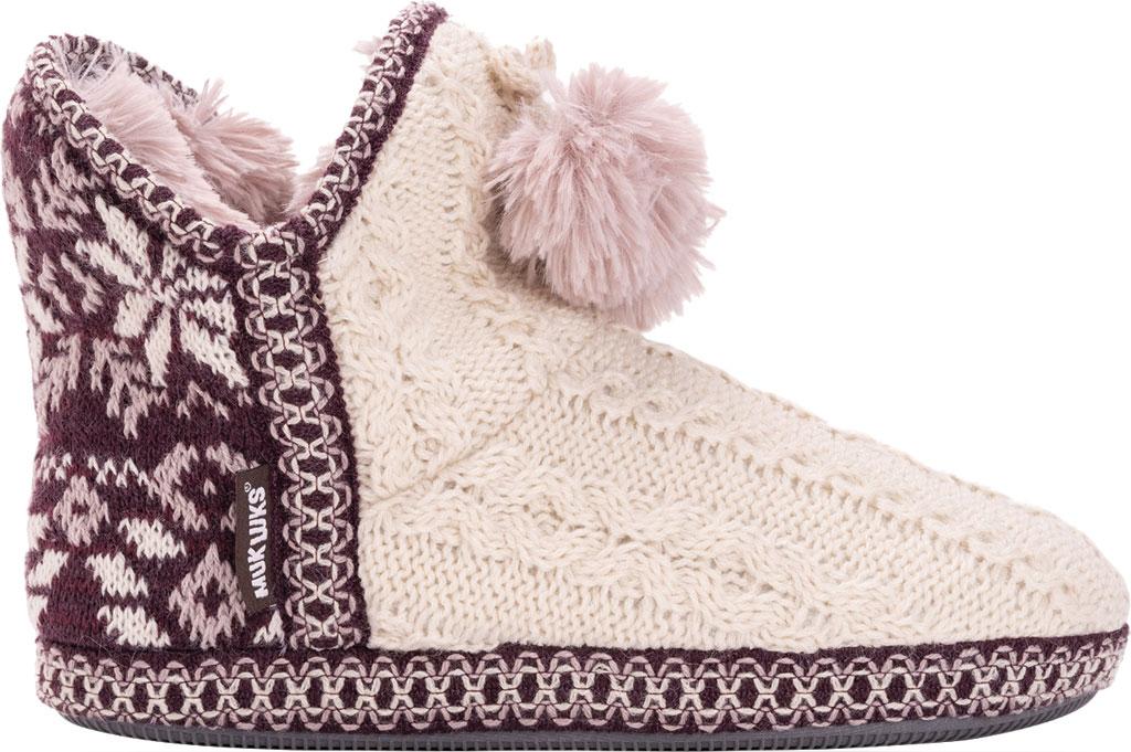Women's MUK LUKS Amira Pom Bootie Slipper, Aubergine Acrylic Knit, large, image 2