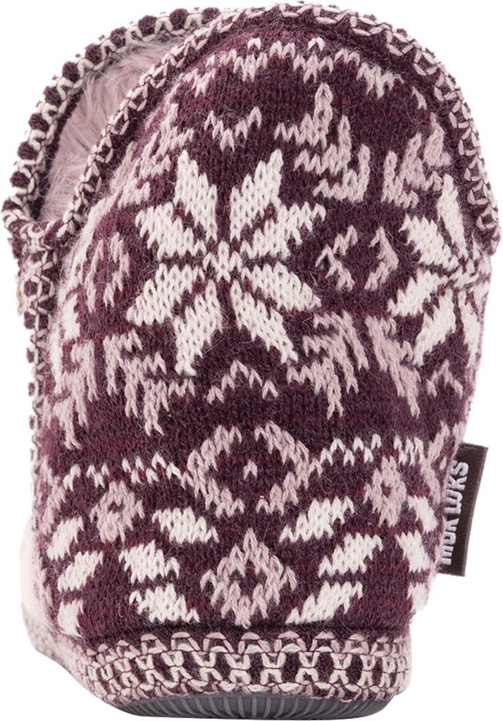 Women's MUK LUKS Amira Pom Bootie Slipper, Aubergine Acrylic Knit, large, image 3
