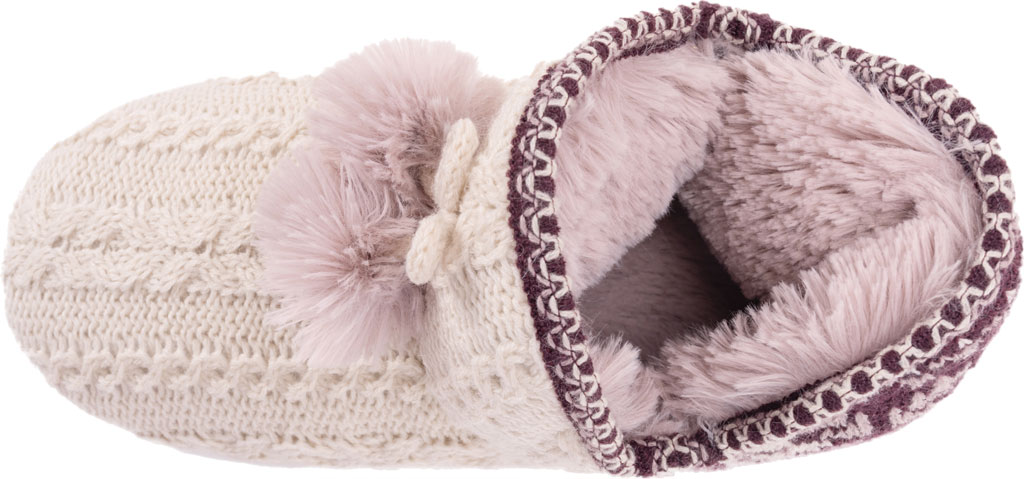 Women's MUK LUKS Amira Pom Bootie Slipper, Aubergine Acrylic Knit, large, image 4