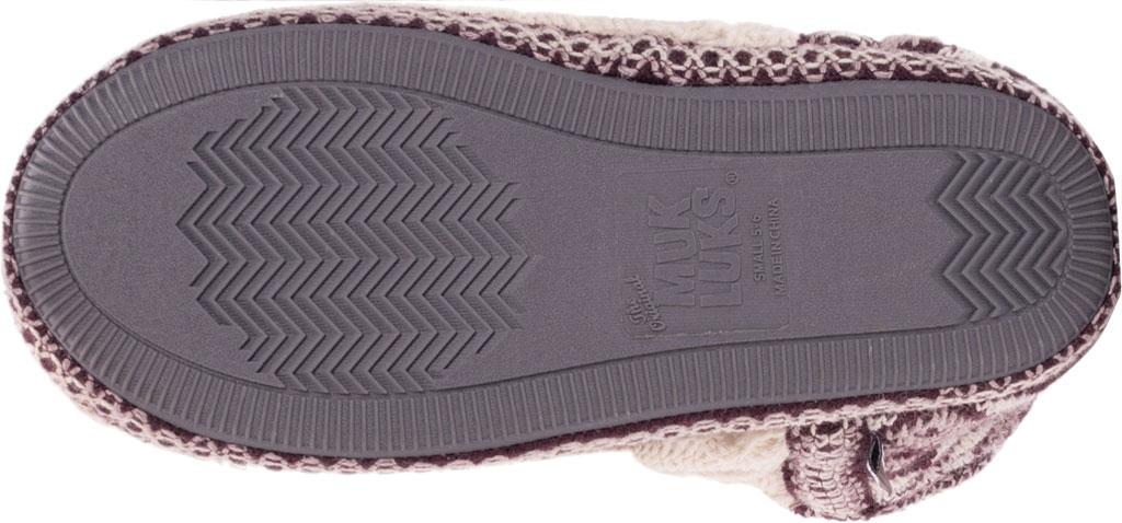 Women's MUK LUKS Amira Pom Bootie Slipper, Aubergine Acrylic Knit, large, image 5