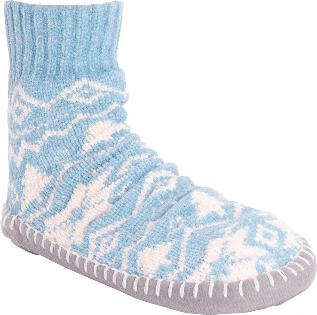 Women's MUK LUKS Chenille Short Slipper Sock, Cameo Blue Polyester Fabric, large, image 1