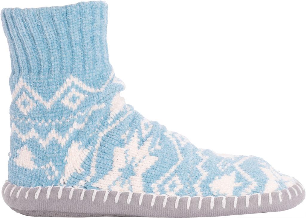 Women's MUK LUKS Chenille Short Slipper Sock, Cameo Blue Polyester Fabric, large, image 2