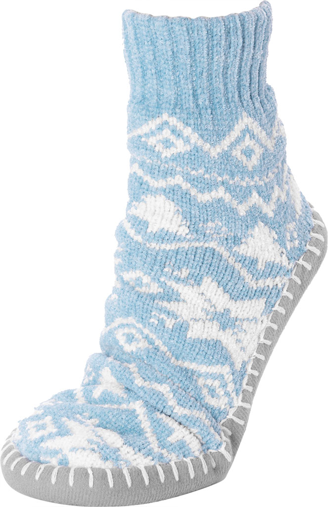 Women's MUK LUKS Chenille Short Slipper Sock, Cameo Blue Polyester Fabric, large, image 3