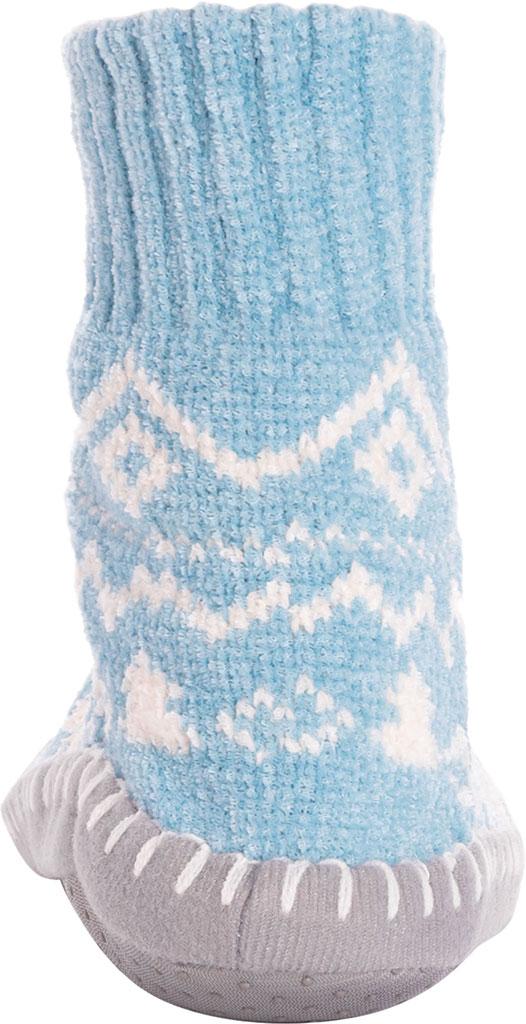 Women's MUK LUKS Chenille Short Slipper Sock, Cameo Blue Polyester Fabric, large, image 4
