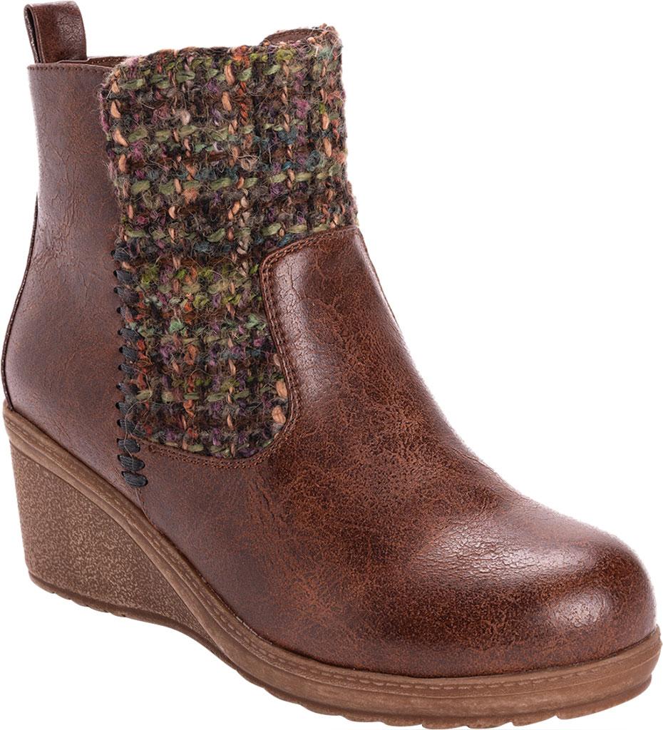 Women's MUK LUKS Novah Wedge Heel Bootie, Brown Polyurethane/Acrylic Fabric, large, image 1