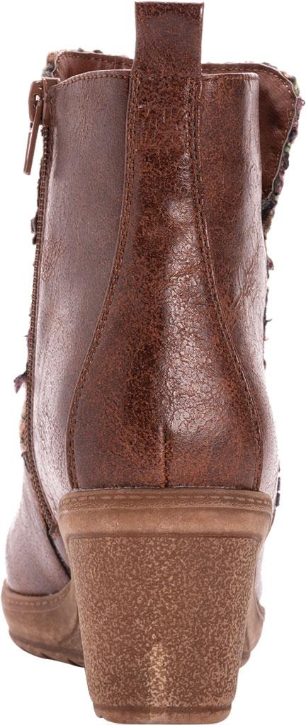 Women's MUK LUKS Novah Wedge Heel Bootie, Brown Polyurethane/Acrylic Fabric, large, image 3