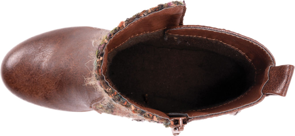 Women's MUK LUKS Novah Wedge Heel Bootie, Brown Polyurethane/Acrylic Fabric, large, image 4