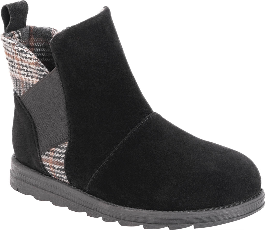 Women's MUK LUKS Mila Ankle Bootie, Black Polyester Faux Suede, large, image 1