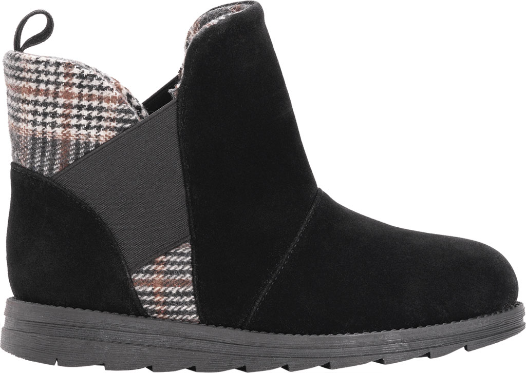 Women's MUK LUKS Mila Ankle Bootie, Black Polyester Faux Suede, large, image 2