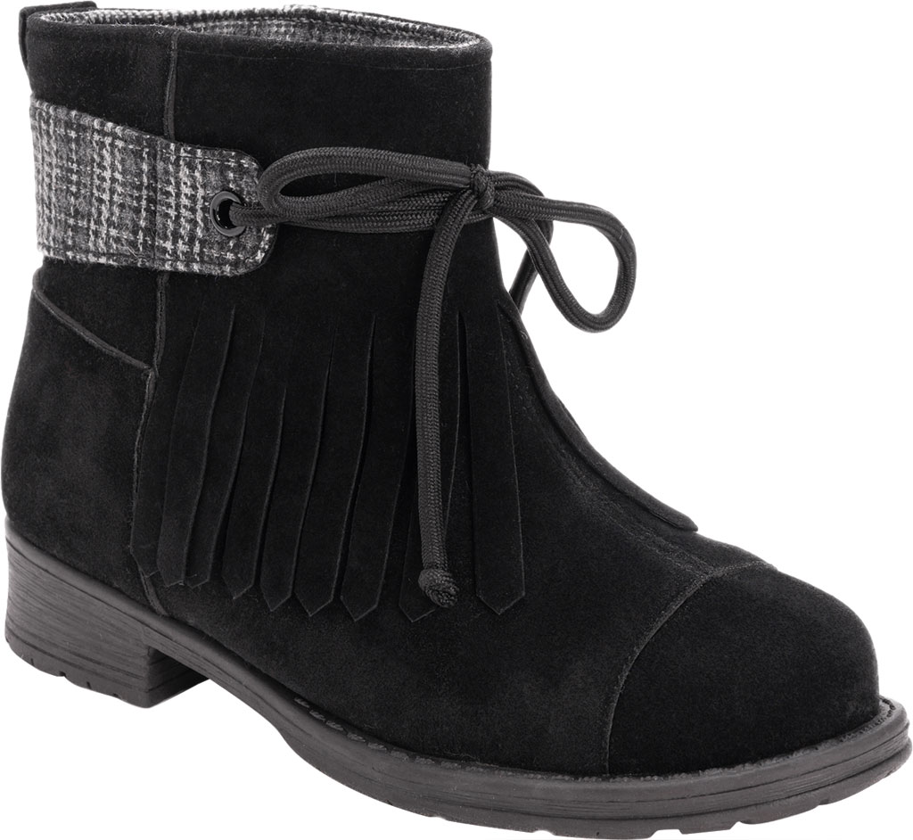 Women's MUK LUKS Lynsey Ankle Bootie, Black Polyester Faux Suede, large, image 1