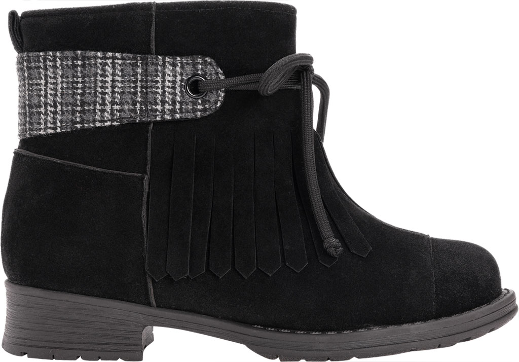 Women's MUK LUKS Lynsey Ankle Bootie, Black Polyester Faux Suede, large, image 2