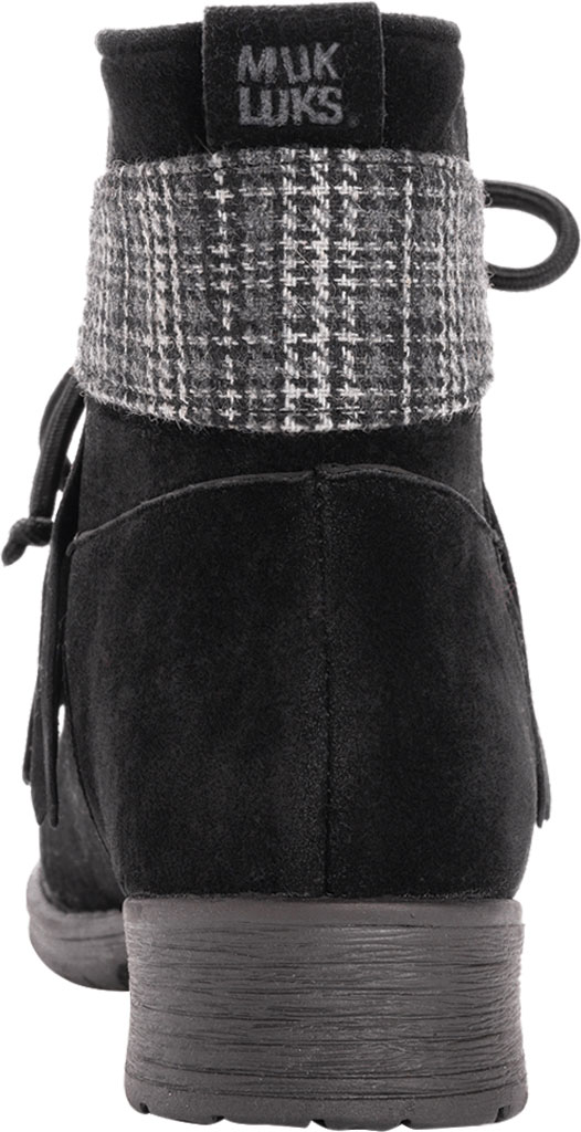 Women's MUK LUKS Lynsey Ankle Bootie, Black Polyester Faux Suede, large, image 3