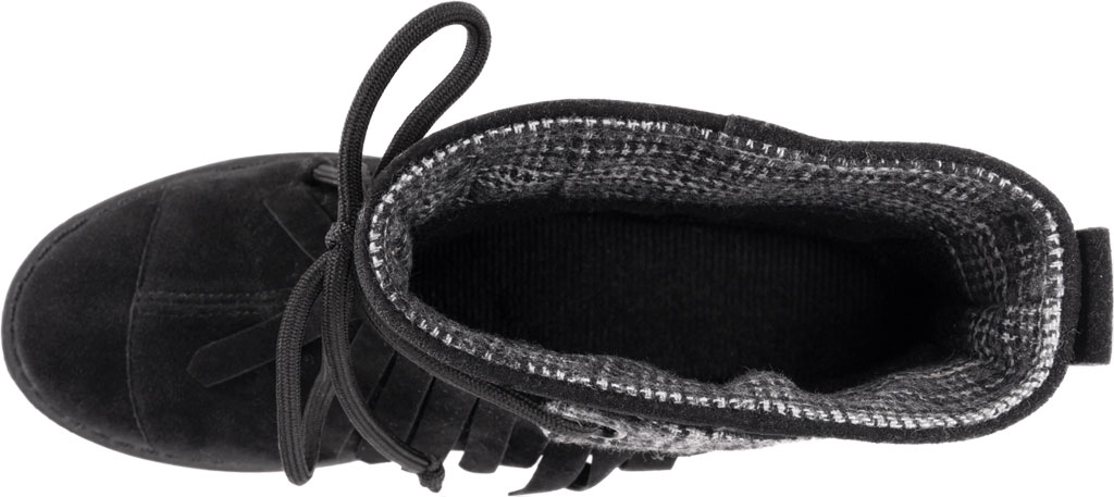 Women's MUK LUKS Lynsey Ankle Bootie, Black Polyester Faux Suede, large, image 4