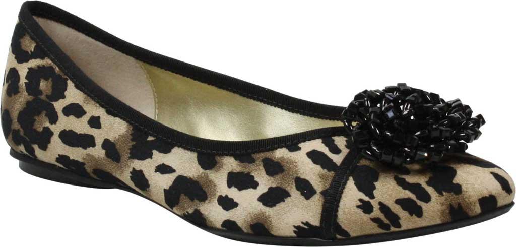 Women's J by J. RENEE Hermine Flat, Black/Brown Leopard Print Fabric, large, image 1