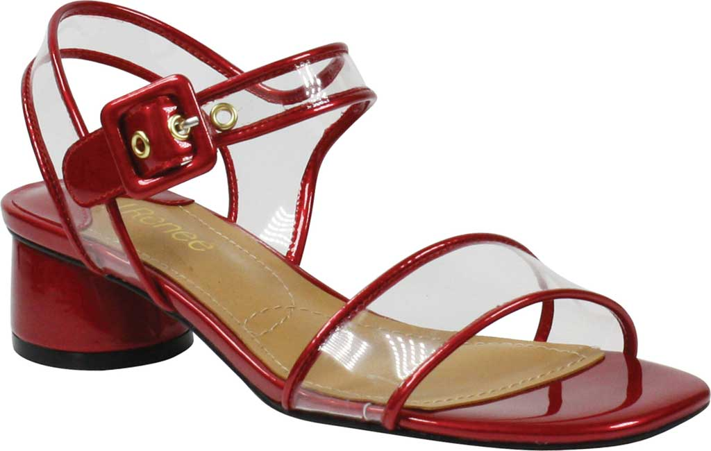 Women's J. Renee Florencio Heeled Vinyl Sandal, Red/Clear Synthetic Patent/Vinyl, large, image 1