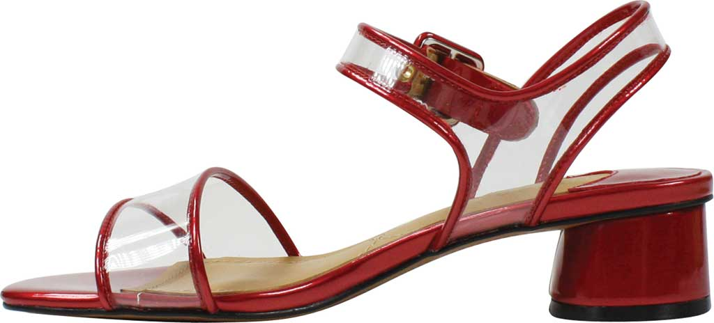 Women's J. Renee Florencio Heeled Vinyl Sandal, Red/Clear Synthetic Patent/Vinyl, large, image 3