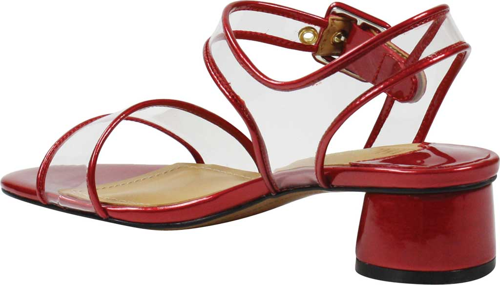Women's J. Renee Florencio Heeled Vinyl Sandal, Red/Clear Synthetic Patent/Vinyl, large, image 4