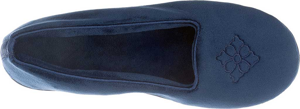 Women's Dearfoams Rebecca Microfiber Velour Closed Back Slipper, Peacoat, large, image 3