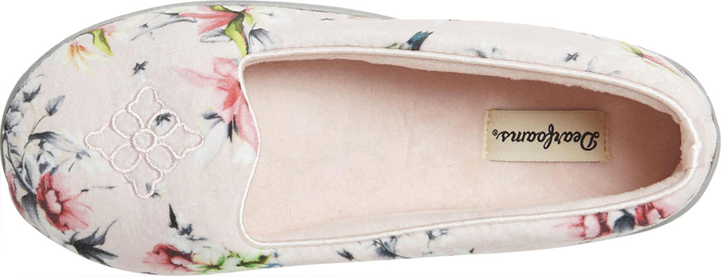 Women's Dearfoams Rebecca Microfiber Velour Closed Back Slipper, Dusty Pink Plush Microfiber, large, image 5