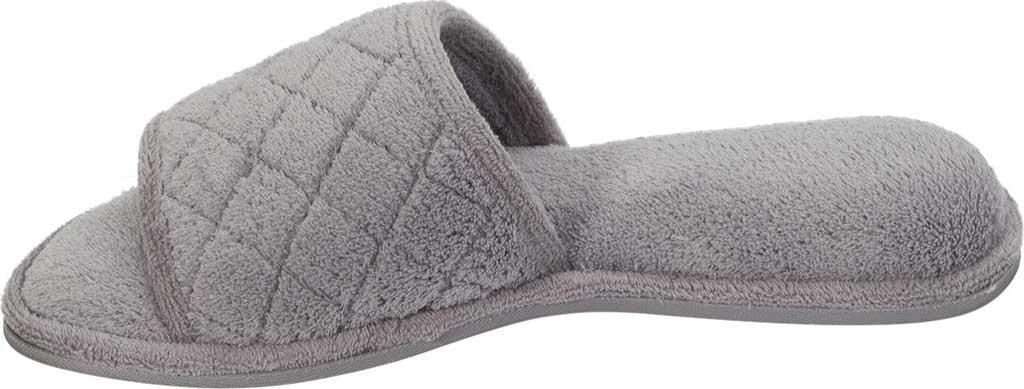 Women's Dearfoams Microfiber Terry Open Toe Slipper, Medium Grey, large, image 2