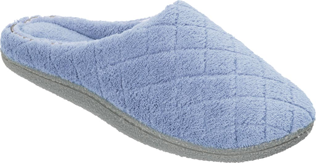 Women's Dearfoams Leslie Quilted Terry Clog Slipper, Iceberg, large, image 1