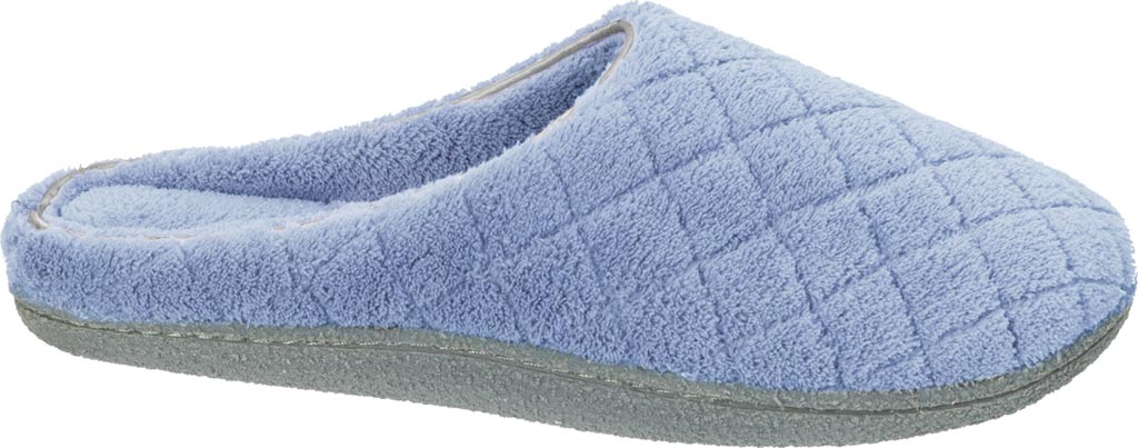 Women's Dearfoams Leslie Quilted Terry Clog Slipper, Iceberg, large, image 2