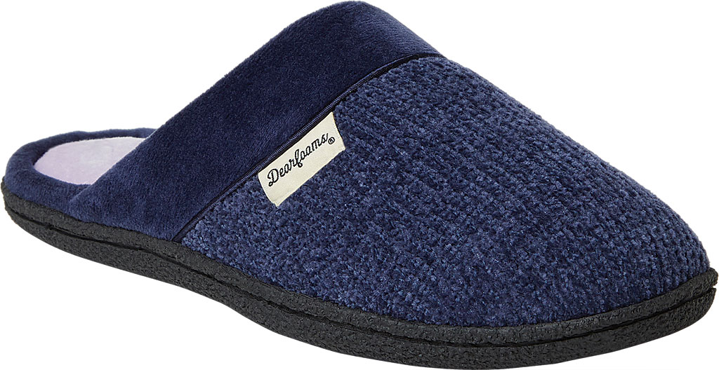 Women's Dearfoams Samantha Chenille Clog Slipper with Quilted Sock, Peacoat Polyester, large, image 1