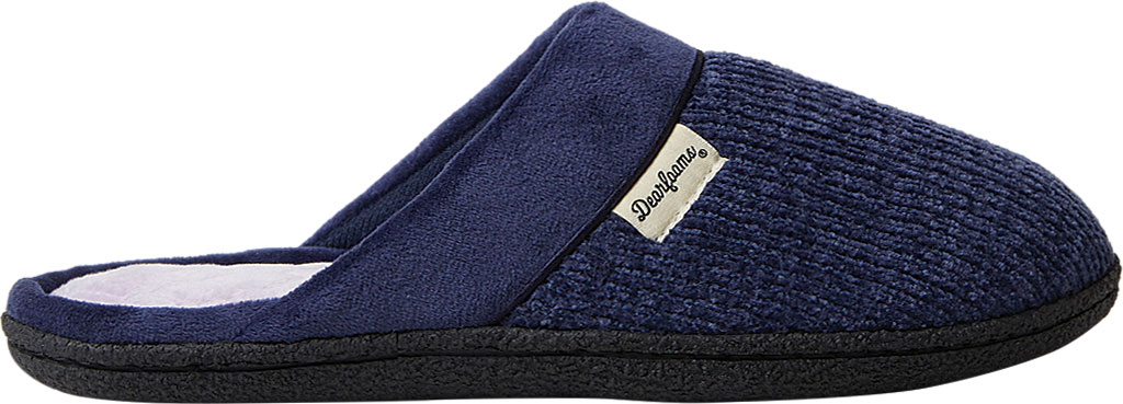 Women's Dearfoams Samantha Chenille Clog Slipper with Quilted Sock, Peacoat Polyester, large, image 2
