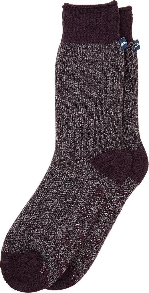 Men's Dearfoams Marled Knit Cabin Slipper Sock, Fig Knit, large, image 1