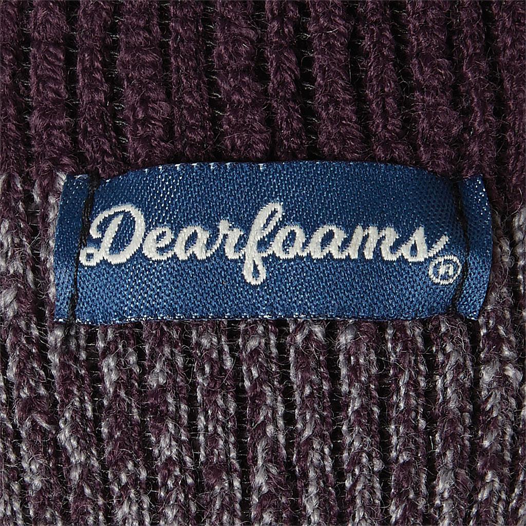 Men's Dearfoams Marled Knit Cabin Slipper Sock, Fig Knit, large, image 2