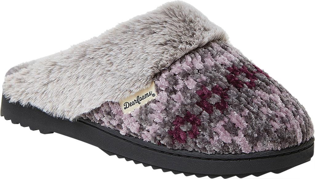 Women's Dearfoams Chenille Fuzzy Cuff Knit Scuff, Excalibur Chenille, large, image 1