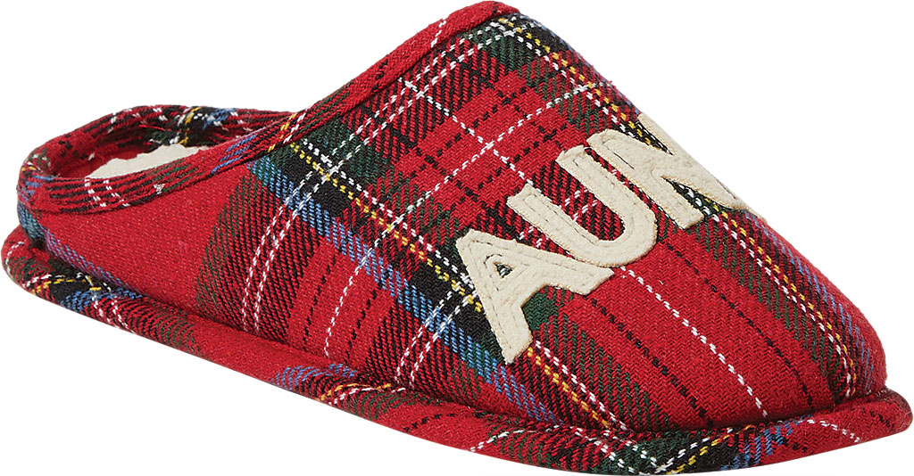 Women's Dearfoams Auntie Bear Plaid Clog Slipper, Red Plaid Synthetic, large, image 1