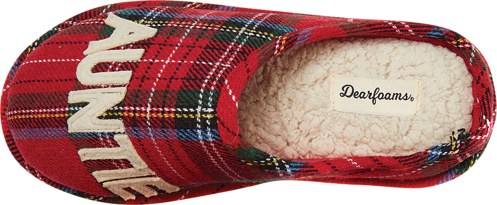 Women's Dearfoams Auntie Bear Plaid Clog Slipper, Red Plaid Synthetic, large, image 5