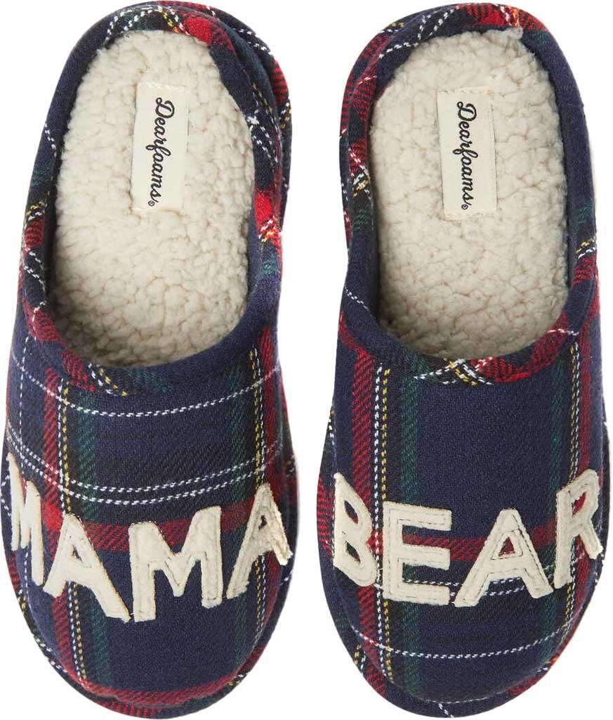 Women's Dearfoams Mama Bear Plaid Clog Slipper, Blue Plaid Synthetic, large, image 1