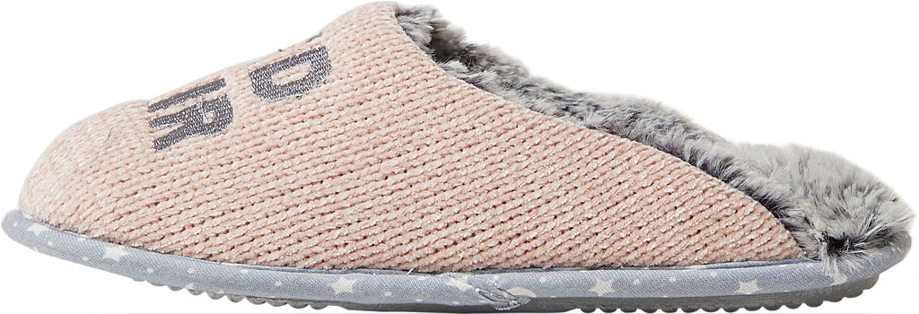 Women's Dearfoams Novelty Chenille Scuff with Scrunchie, Pink Bed Hair Don't Care Chenille, large, image 3