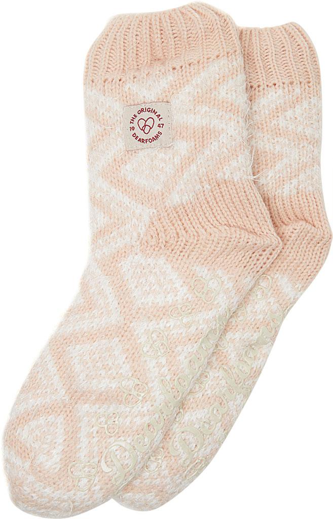 Women's Dearfoams Fairisle Knit Flurry Slipper Sock, Dusty Pink Knit, large, image 1