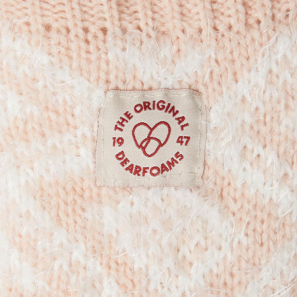 Women's Dearfoams Fairisle Knit Flurry Slipper Sock, Dusty Pink Knit, large, image 3