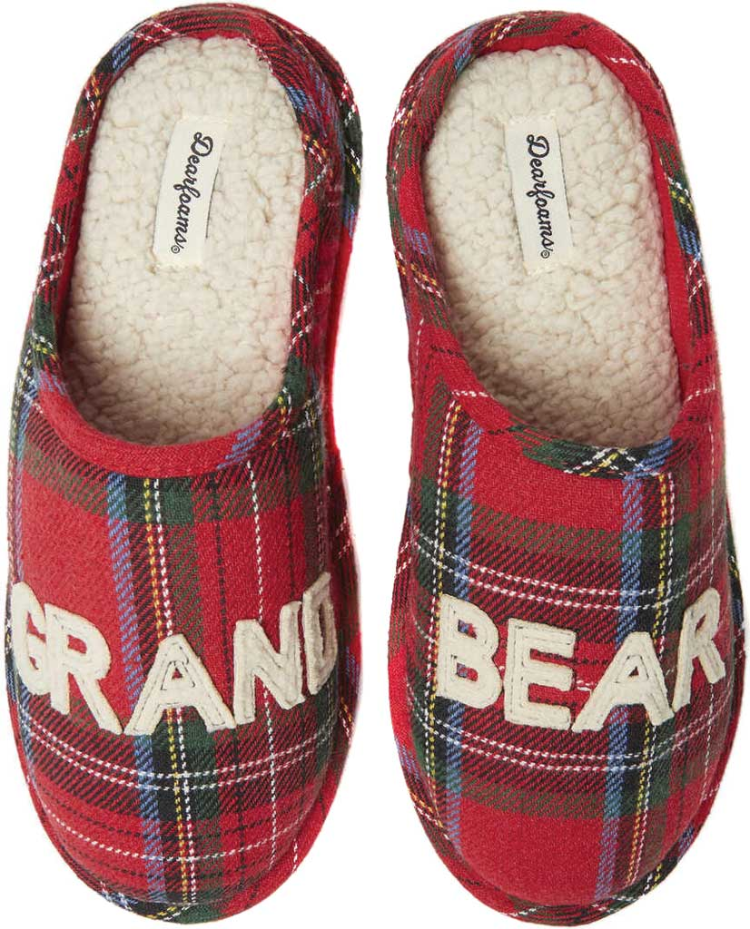 Dearfoams Grand Bear Plaid Clog Slipper, Red Plaid Synthetic, large, image 1