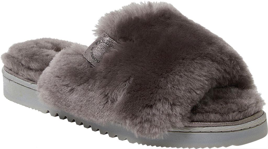 Women's Dearfoams Fireside Cairns Shearling Slide Slipper, Grey Sheepskin, large, image 1