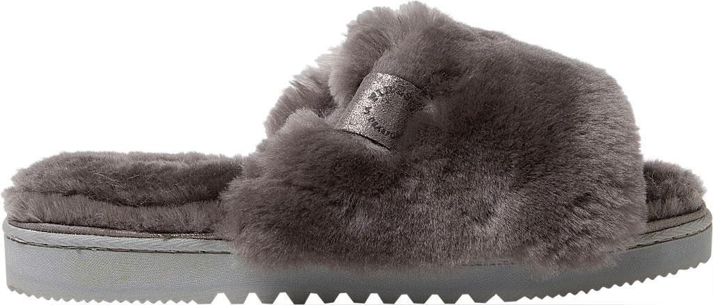 Women's Dearfoams Fireside Cairns Shearling Slide Slipper, Grey Sheepskin, large, image 2