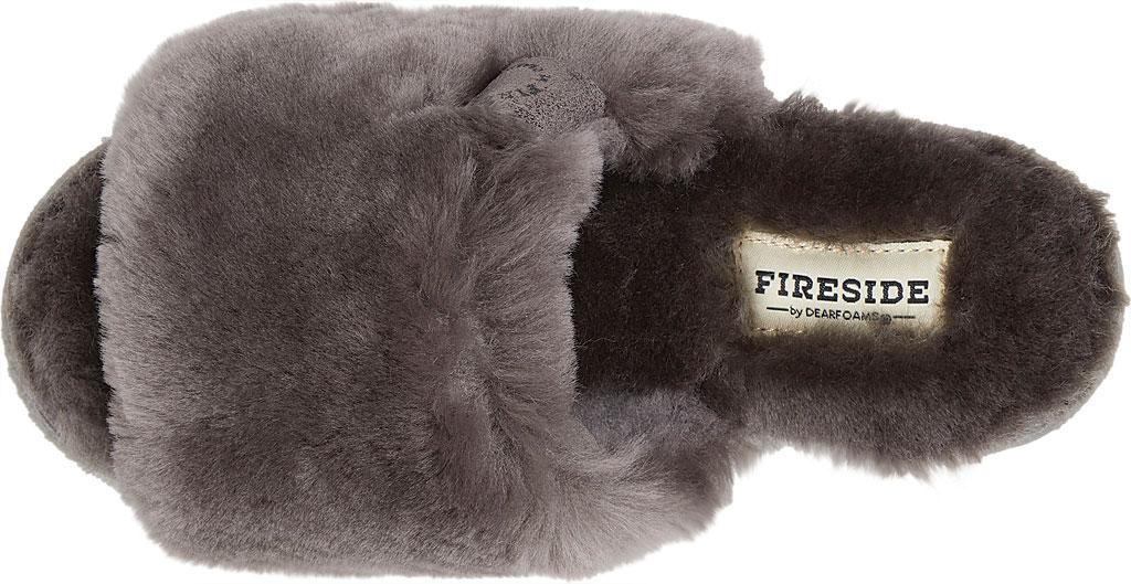 Women's Dearfoams Fireside Cairns Shearling Slide Slipper, Grey Sheepskin, large, image 5