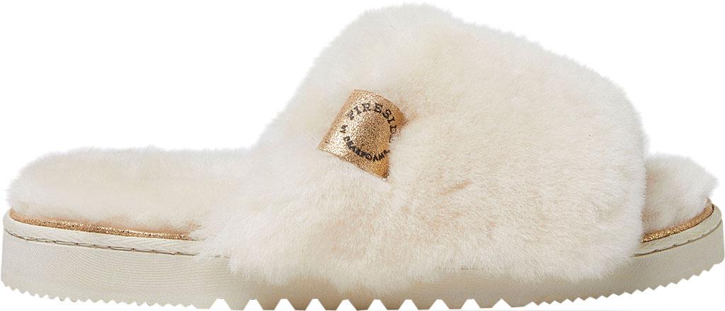 Women's Dearfoams Fireside Cairns Shearling Slide Slipper, Natural Sheepskin, large, image 2