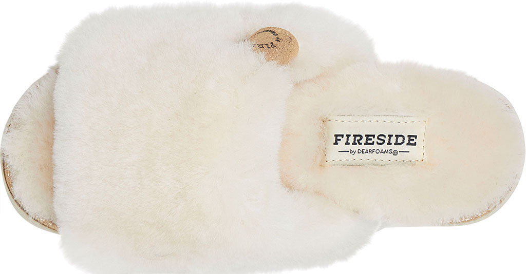 Women's Dearfoams Fireside Cairns Shearling Slide Slipper, Natural Sheepskin, large, image 5
