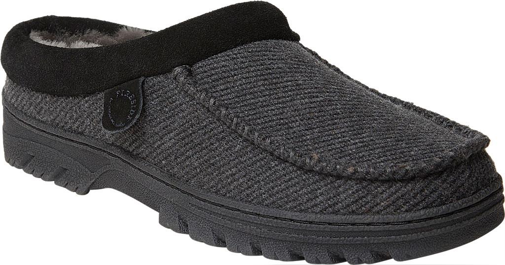 Men's Dearfoams Fireside Lith Moc Toe Clog Slipper, Black Microwool, large, image 1