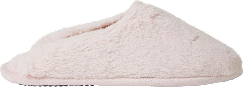 Women's Dearfoams Bailey Plush Furry Scuff, Dusty Pink Furry Textile, large, image 2