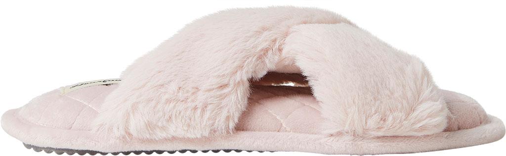 Women's Dearfoams Jessica Furry Crossband Slide, Dusty Pink Furry Textile, large, image 2
