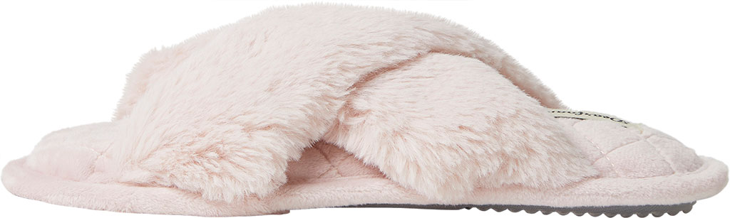 Women's Dearfoams Jessica Furry Crossband Slide, Dusty Pink Furry Textile, large, image 3