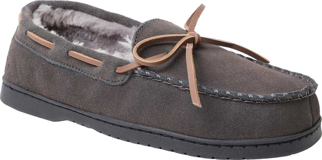 Men's Dearfoams Genuine Suede Moccasin Slipper, Grey Suede, large, image 1