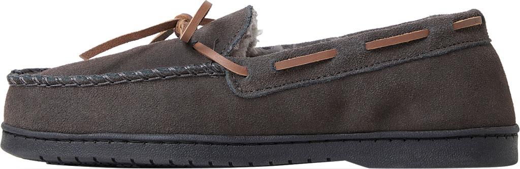 Men's Dearfoams Genuine Suede Moccasin Slipper, Grey Suede, large, image 3