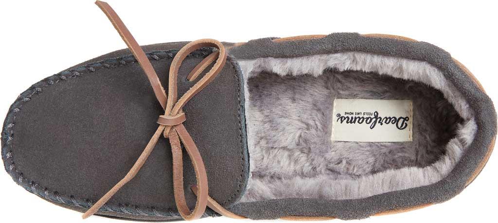 Men's Dearfoams Genuine Suede Moccasin Slipper, Grey Suede, large, image 5